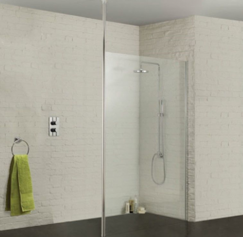 Sommer Wetroom Glass Panel 800mm - Ceiling Pole Option